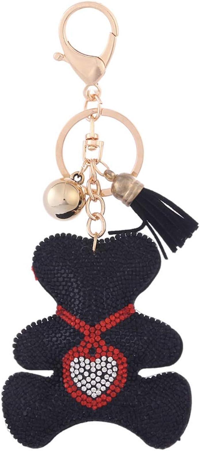 Quadiva Bag Charm ours en peluche avec pendentif en forme de c/œur pour femme Noir//rouge