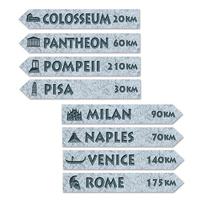 Beistle 54244 Italian Street Sign Cutouts, 3-3/4 by 23-3/4-Inch, Multicolor