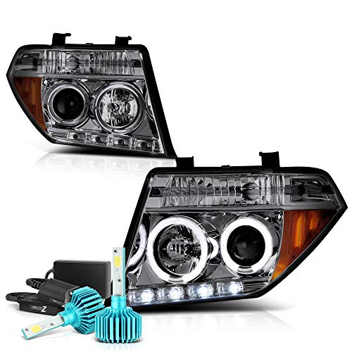 VIPMOTOZ LED Halo Ring Chrome Smoke Projector Headlight Lamp Assembly For 2005-2008 Nissan Frontier Pathfinder - Built-In Rainbow RGB LED Low Beam, Driver & Passenger Side