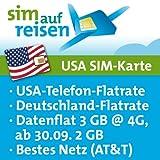 USA Prepaid Reise-Sim-Karte im AT&T Netz mit Telefon- und Internetflatrate (3 GB @ 4G, 2 GB bei Aktivierung nach 30.09.2017)