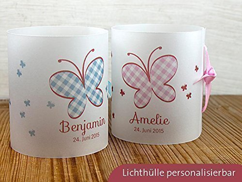 8 x Personalisierbare Lichthülle mit Schmetterling für Tischlicht für Taufe, Geburtstag