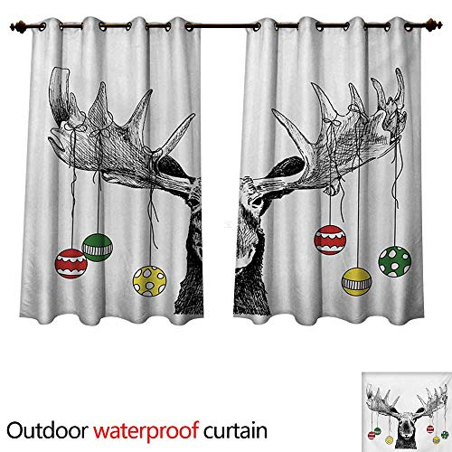 - WilliamsDecor Moose Home Patio Outdoor Curtain Christmas Moose with Xmas Ornaments Balls Hanging from Horns Funny Noel Sketch Art W120 x L72(305cm x 183cm)