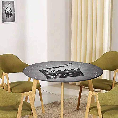 TableCovers&Home Movie Theater,Tabletop Decoration Elastic Edged Clapper Board on Retro Backdrop with Grunge Effect Director Cut Scene Grey Black White 35.5