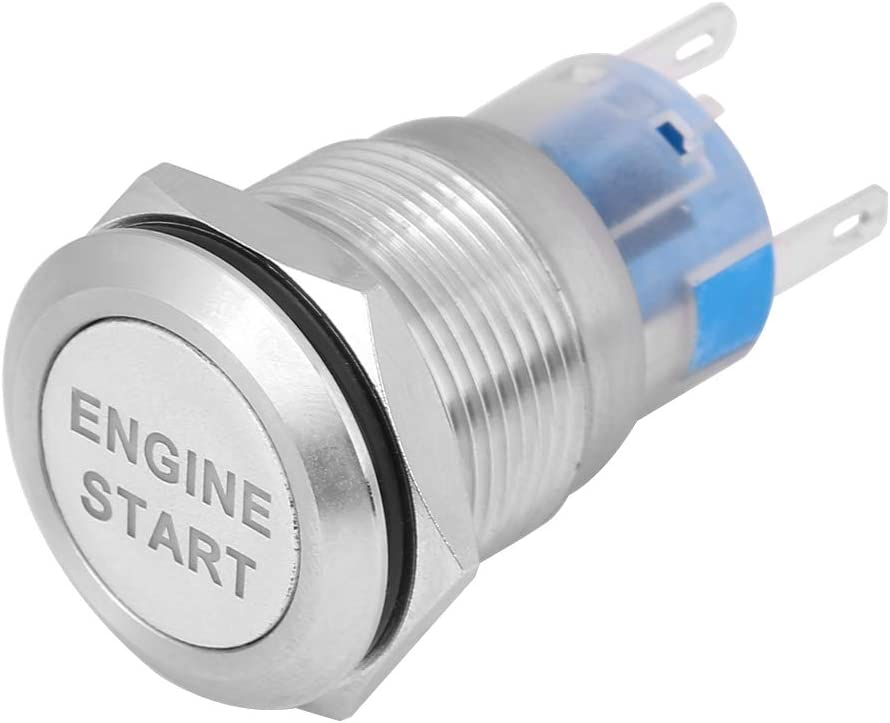 Universal 12V Waterproof Car LED Engine Start Push Button Switch Ignition Starter with 19mm Mounting Hole Engine Start Switch Silver