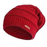 lotus.flower Unisex Men Women Solid Baggy Warm Crochet Winter Wool Knit Ski Beanie Skull Slouchy Caps Hat (Wine Red)
