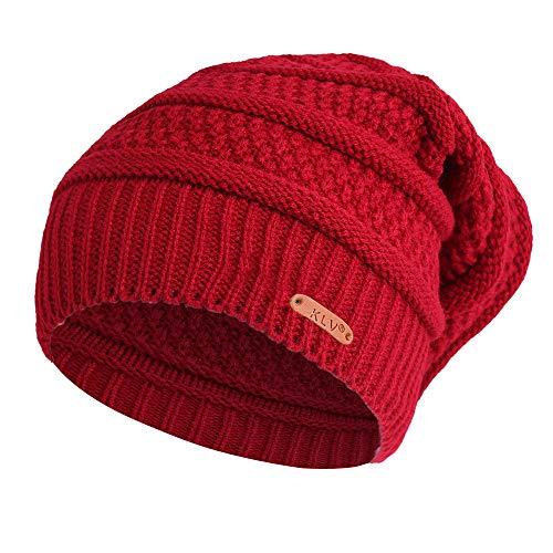 DEATU Clearance KLV Hat Men Women Winter Knit Ski Beanie Skull Slouchy Caps Unisex Baggy Warm Crochet Hat (c-Wine,One Size)