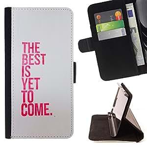 BullDog Case - FOR/Apple Iphone 4 / 4S / - / best is yet to come inspiring pink message /- Monedero de cuero de la PU Llevar cubierta de la caja con el ID Credit Card Slots Flip funda de cuer