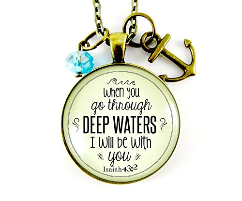 When You Go Through Deep Waters Isaiah 43 2 Christian 36  Necklace  Bronze Round Glass 1 20  Vintage Style Pendant Faith Jewelry Anchor Charm  Teal Glass Bead