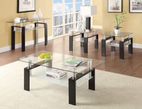 Coaster Glass Top Console Table in Black