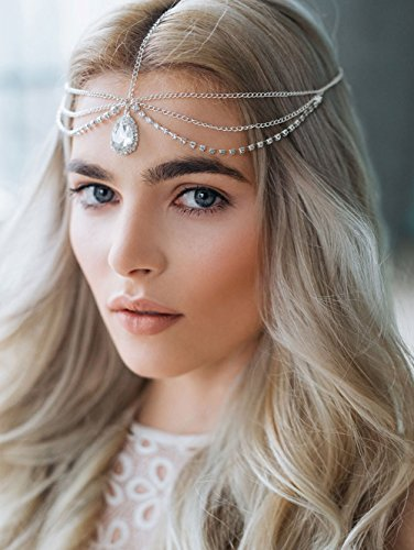 FXmimior Fashion Women Hot Bohe Halloween Charm Head Chain Vintage Rhinestones Crysatal Drop Headpiece Headband Wedding Prom Eveing Women Girl Hair Accessories (gold)]()