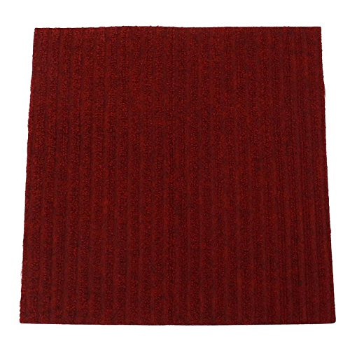 Carpet Floor Tile Red with Glue 45.5 x 45.5cm Polyester Fibre Exercise Fur Mat Hand Knotted Handmade Rugs Home Textile