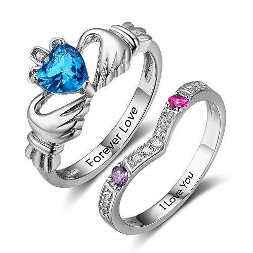 Personalized Claddagh Promise Ring Set for Her with Simulated Birthstone Engagement Wedding Band (7)