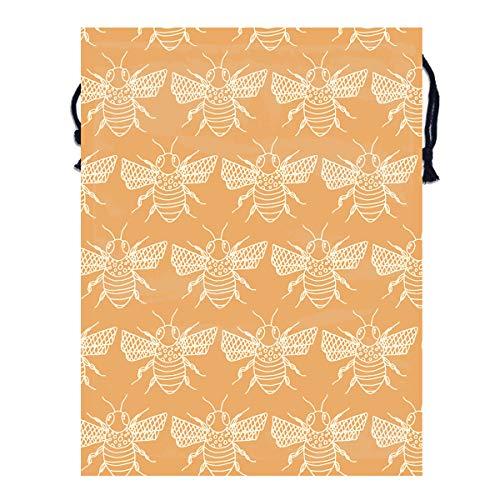 - Mintslove Portable Storage Bag Vintage Bee Seamless Art 3D Print Polyester Drawstring Backpack Gym Drawstring Bags