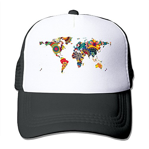 [Decorative Trippy World Map Snapback Trucker Mesh Unisex One Size Fits Most Hats Caps Black] (Crazy Christmas Hats)