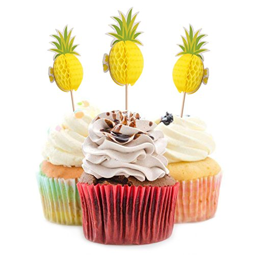 3d Cupcake Picks - Ehdching 12 Pack 3D Pineapple Cupcakes party supplies Toppers Food Picks Party Cocktail Tropical Cupcake Picks Decoration