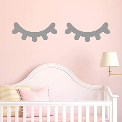 Jeash Cute Eyelash Wall Sticker, for Children's Bedroom Living Room TV Background Wall Stickers Wedding Birthday Party Home Decorations Kindergarten Nursery Home Decals (Grey): Arts, Crafts & Sewing