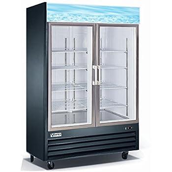 Vortex Refrigeration Commercial 2 Glass Door Black Merchandiser Refrigerator    45 Cu. Ft.