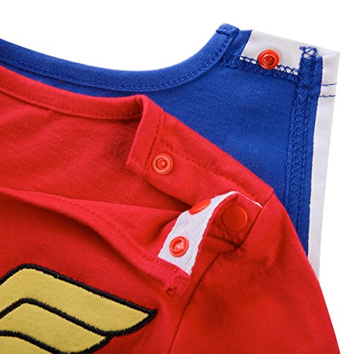 Kiddomania Baby Toddler Boy/ Girl Superhero Bodysuit Romper Onesie Costume (100 (18-24 Months), Wonder Woman)