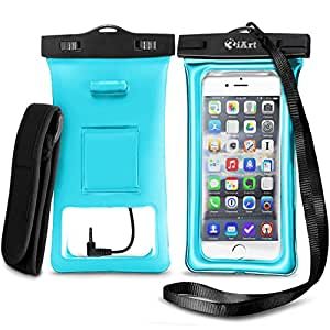 3iART Floating Waterproof Case with Armband and Audio Jack - TPU Material IPX8 Certified - Fits all iPhone and Samsung Models - Teal
