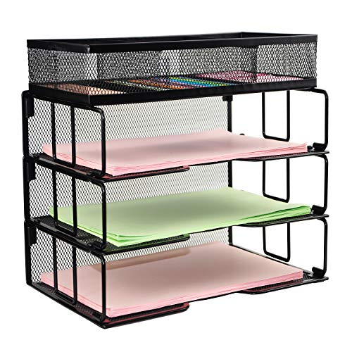 (Reliatronic Mesh Office Desk File Letter Tray Organizer with 3 Stackable Trays and a Sorter, Black)