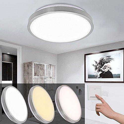 12W color que cambia la luz de techo llevada Tinte Lámpara de la sala de estar ajustable Lámpara del techo para el dormitorio Niquelería Circular 3in1 ...