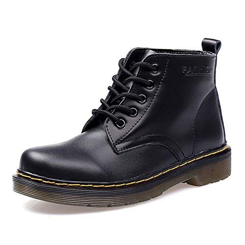 SITAILE Unisex-Erwachsene Bootsschuhe Derby Schnürhalbschuhe Kurzschaft Stiefel Winter Boots für Herren Damen Gefüttert-Schwarz