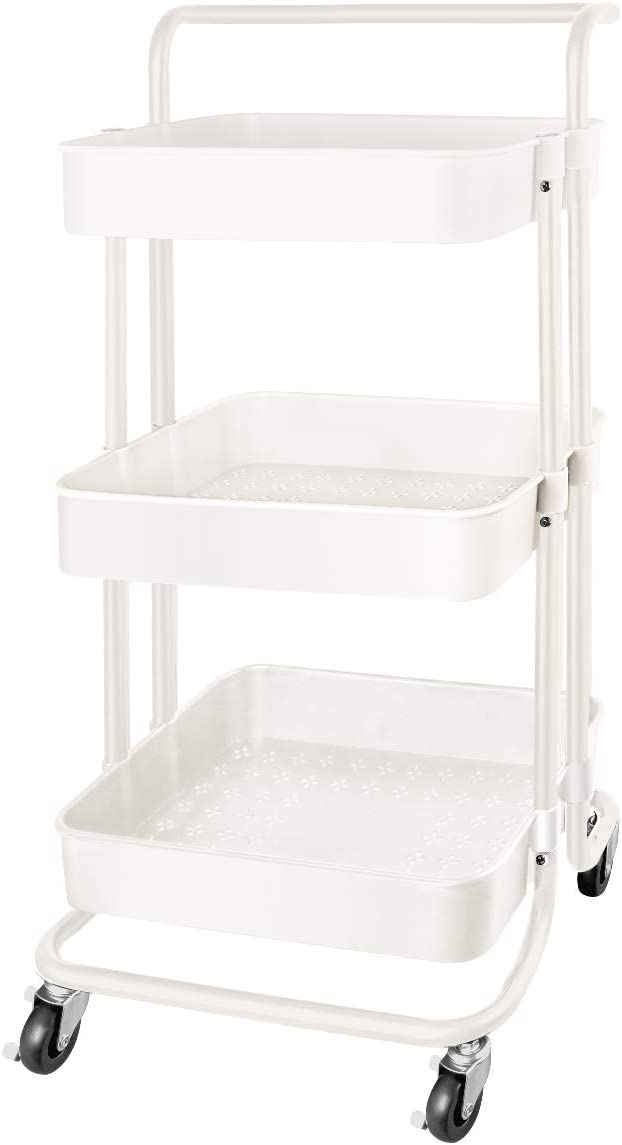 QiMH 3 Tier Rolling Storage Cart with Wheels Handle, Heavy Duty Mobile Rolling Utility Cart Multifunction Large Storage Shelves Organizer with Mesh Basket for Kitchen, Bathroom, Bedroom, Office, White