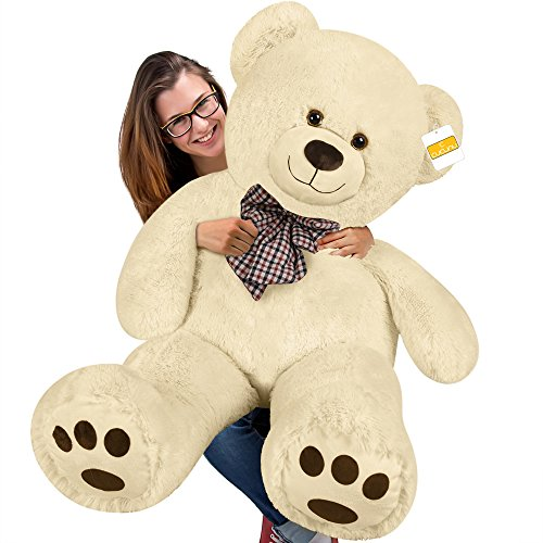 cucunu Big Teddy Bear Stuffed XL Plush Animal Large 3.3 ft for Kids and Adults with Big Pawprints and Eyes 40 Inch - Light Brown Tan