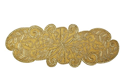 Cotton Craft - Beaded Table Runner - Scrolling Leaves - Gold - 13x36 - Hand Made by Skilled Artisans - A Beautiful Complement to Your Dinner Table Décor - Spot Clean (Gold Beaded Dinner)