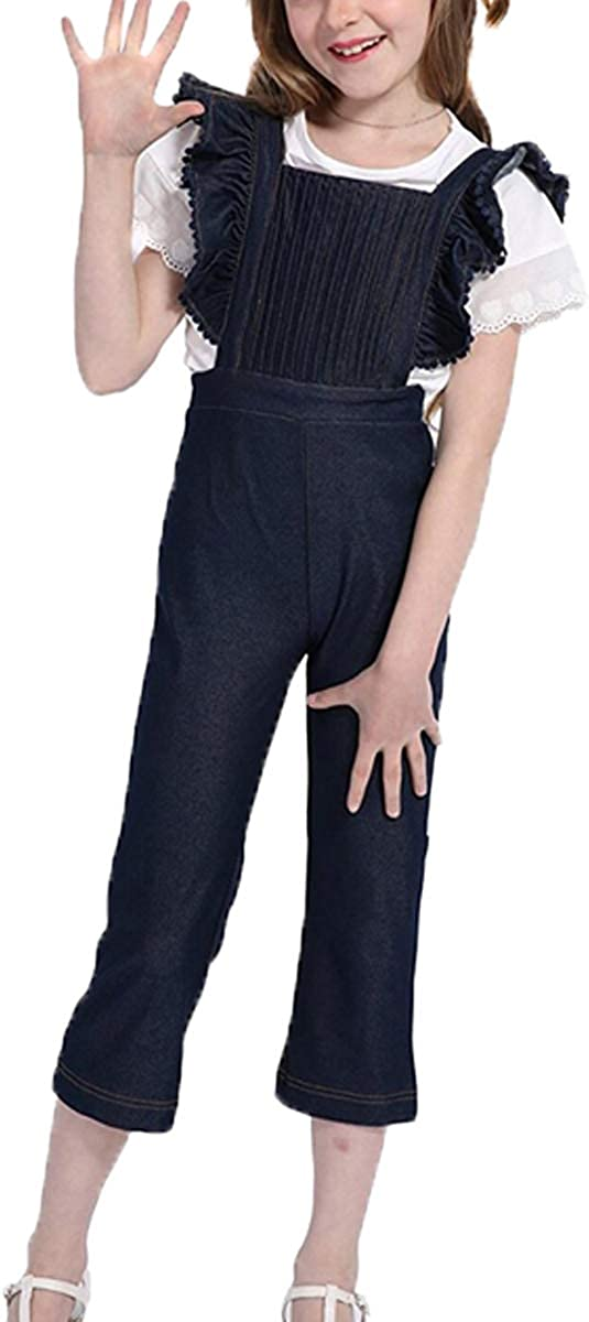 Colorful Childhood Girls Jeans Shabby Chic Inspired Girly Jeans Toddler Overalls Childrens Ruffles Soft Denim Jumpsuit