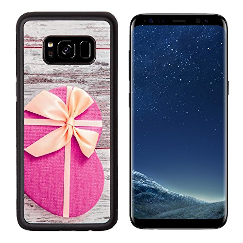 Luxlady Premium Samsung Galaxy S8 Aluminum Backplate Bumper Snap Case IMAGE ID: 34261528 Heart shaped pink gift box with yellow ribbon on white wooden background