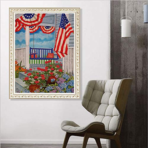- 30x40CM American Independence Day Diamond Painting - 5D DIY Embroidery Round Diamond Gift, Diamond Rhinestone Kits for Adults Arts Craft Home Decor (A)