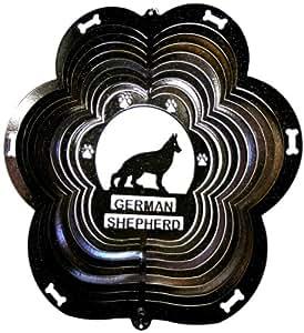 Stainless Steel German Shepherd Dog - 12 Inch Wind Spinner, Black