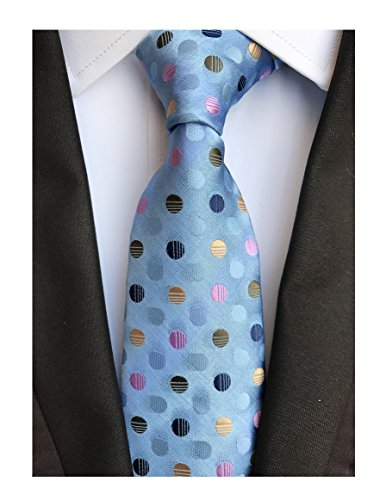 Men's Repp Colorful Fine Polka Dot Silm Silk Tie Jacquard Woven Working Neckties ()