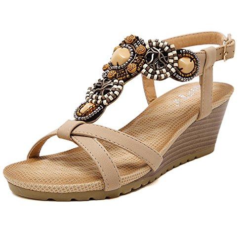 zapatos playa Negro High Mujeres Nuevo vacaciones Playa Heels NMC verano de calzado Albaricoque NING Roma sandalias fnTz7qxw5I