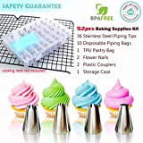 Cake Piping Icing Nozzles Tips 52 Pieces Kits Cake Decorating Supplies Equipment Tools Set Stainless Steel Flower Icing Tip with Coupler Flower Nail Pastry Bags Storage Case for Cakes Cupcakes Baking
