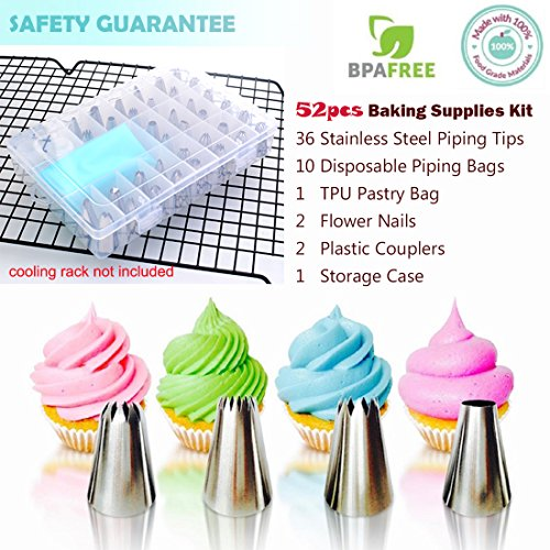 Cake Piping Icing Nozzles Tips 52 Pieces Kits Cake Decorating Supplies Equipment Tools Set Stainless Steel Flower Icing Tip with Coupler Flower Nail Pastry Bags Storage Case for Cakes Cupcakes Baking by EZGOshop