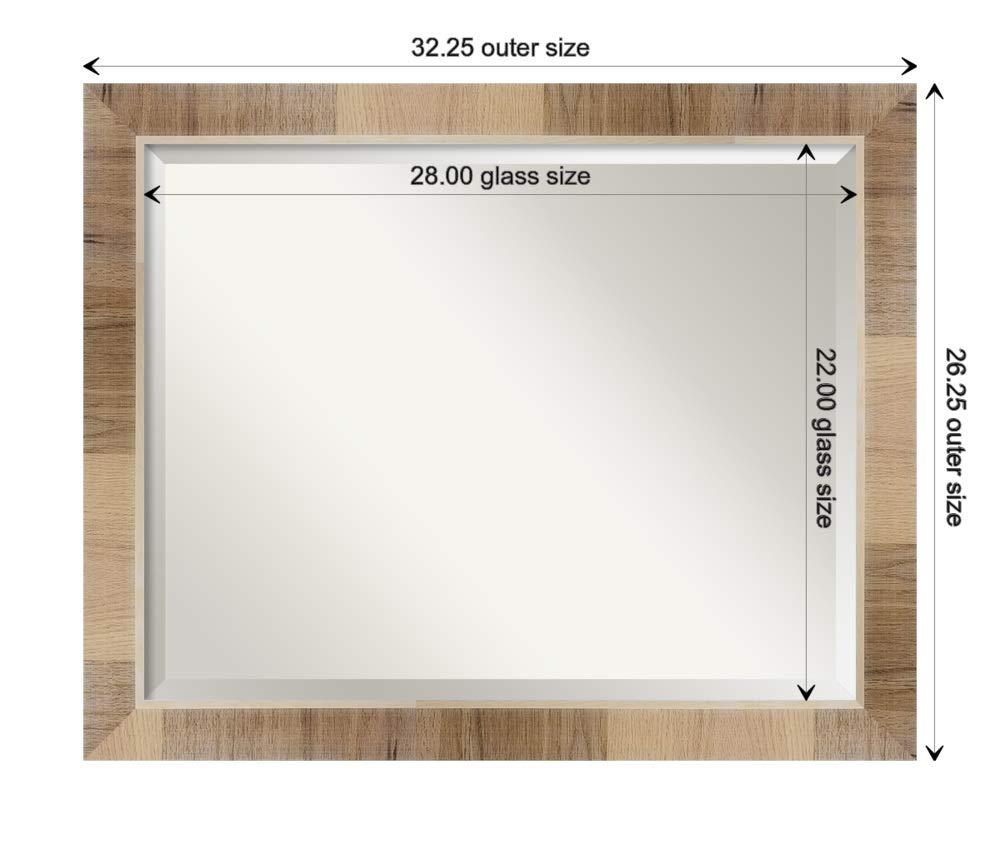 Amanti Art Framed Vanity Mirror | Bathroom Mirrors for Wall | Natural White Wash Mirror Frame | Solid Wood Mirror | Medium Mirror | 26.25 x 32.25 by Amanti Art