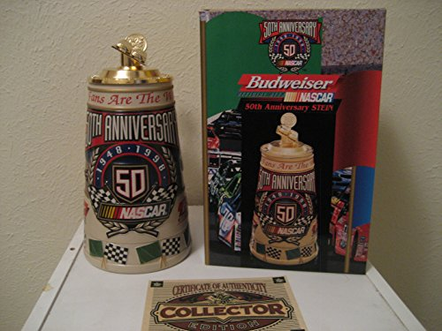 Lidded Beer Stein (1997 Rare Budweiser Nascar 50th Anniversary Stein 1948-1998 CS360)