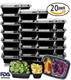 Compra [20 Pack]Meal Prep Containers,2 Compartment Bento Lunch Box,Food Prep,Portion Control,Microwave Safe,20 Sporks en Usame
