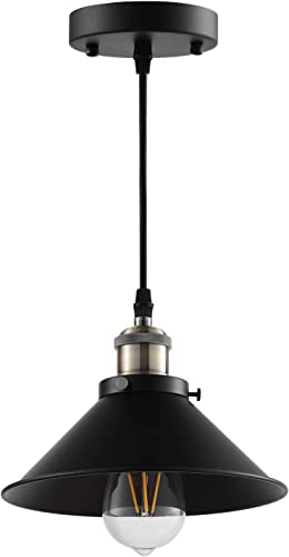 LABOREDUCER Industrial- Pendant- Lighting-, Vintage Hanging- Lamp- E26 Base, Simplicity Bronze and Black Finish, Retro Lighting Fixture 3 Pack Bulbs not Included