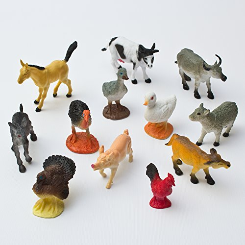 Toys Farm Action (Fun Central AU192 12pc 5 Inch Assorted Farm Animals, Plastic Animal Figures, Farm Animals for Kids, Farm Animal Action Figures, Farm Animal Figures for Toddlers, Small Animal Farm Figures)