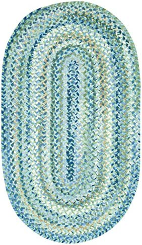 Capel Rugs Ocracoke Oval Braided Area Rug, 11 4 x 14 4 , Light Blue