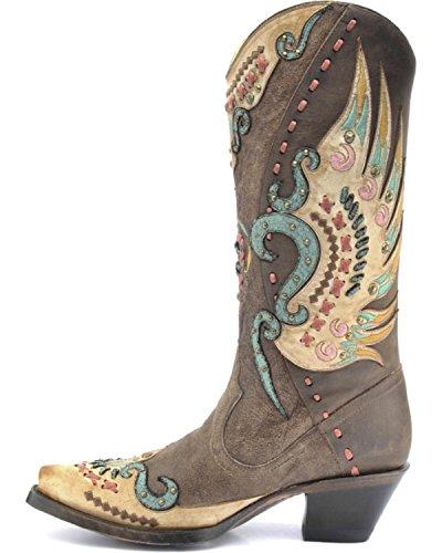 Corallo Da Donna Swan Overlay Cowgirl Boot Snip Toe - R1383 Marrone