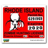 Rhode Island RI Zombie Hunting License Permit Red - Biohazard Response Team - Window Bumper Locker Sticker
