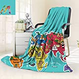 vanfan Supersoft Fleece Throw Blanket Kids Maps Decor Collection America Africa Asia Australia Pacific Indian Atlantic Ocean Image,Silky Soft,Anti-Static,2 Ply Thick Blanket. (60''x36'')