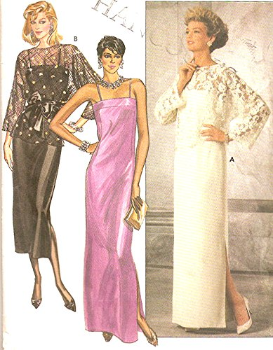 80s Sheer (Butterick vintage 1980s sewing pattern 6950 evening dress w' sheer top - Size 8)