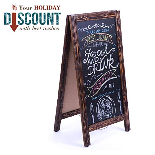 Steel Frame Aluminum Chalkboard - 4 Thought A-Frame Chalkboard Sign 40 x20 Inches, Rustic Wooden Freestanding Sidewalk Sign, Vintage Double-Sided Sign Board for Restaurant Shop Wedding Party, Walnut