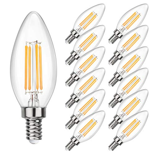 SHINE HAI Candelabra LED Filament Bulbs 40W Equivalent, 2700K Chandelier B11 LED Bulb E12 Base Decorative Candle Light Bulb, Pack of 12