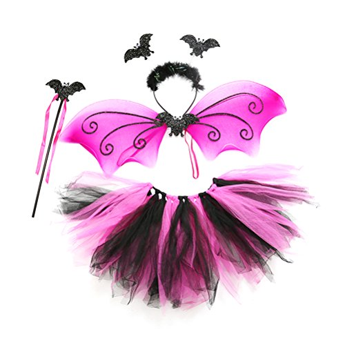LUOEM Girls Bat Costumes Tutu Skirt with Wings Wand Headband and Fairy Fancy Dress-up Outfit Party Favor for Halloween Christmas Birthday Cosplay Party Supply , Pack of 4]()
